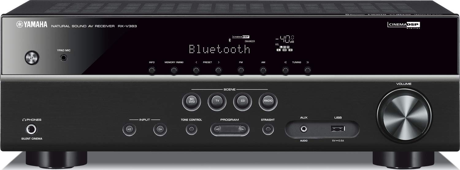 Yamaha RX-V383BL 5.1-Channel 4K Ultra HD AV Receiver with Bluetooth (Renewed) by Yamaha Audio