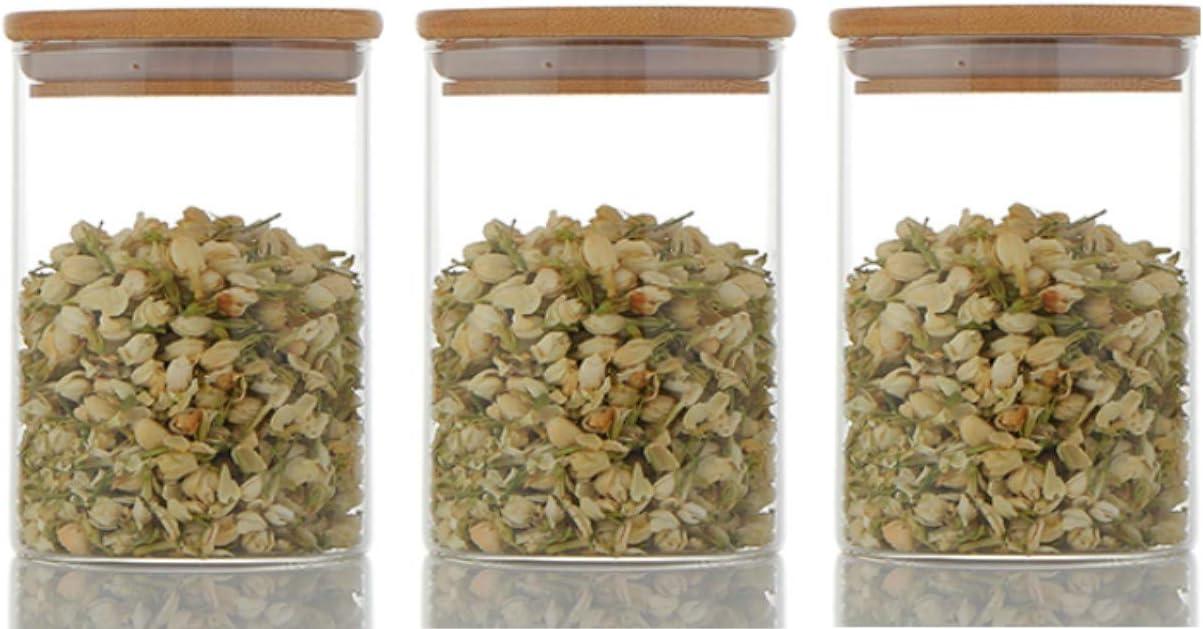 Glass Food Storage Jar with Airtight Bamboo Lid, BPA Free High Borosilicate Glass Container (20oz - 3 Jars)