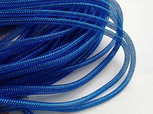 YYCRAFT 15 Yards Solid Mesh Tube For Craft Deco Flex for Wreaths Cyberlox Crin Crafts 8mm 3/8-Inch New Colors(All Royal)