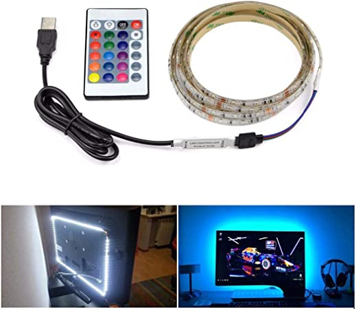 Computer Cables Waterproof 5V USB RGB LED Flexible Strip Lighting Background Light Backlight with 3 Keys Mini Controller for Computer TV Cable Length: 0.5M
