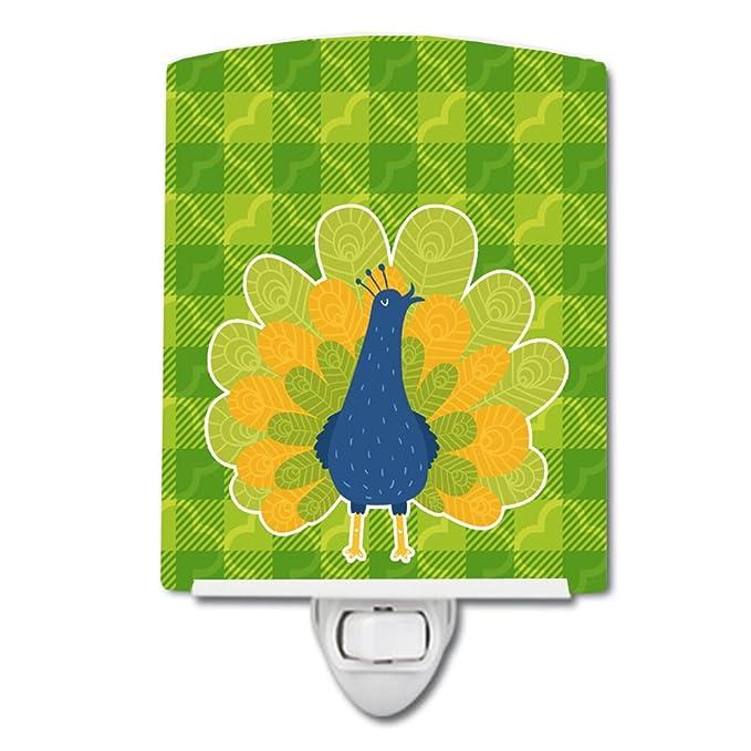 Carolines Treasures Indian Peacock Peafowl Green Ceramic Night Light 6x4 Multicolor