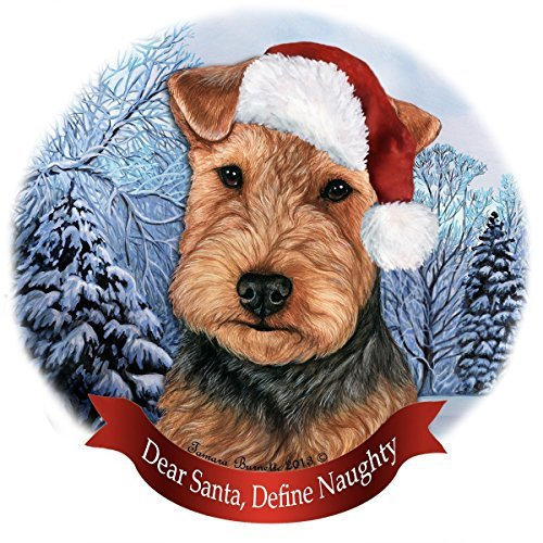 Holiday Pet Gifts Welsh Terrier (Black and Tan) Santa Hat Dog Porcelain Christmas Tree Ornament