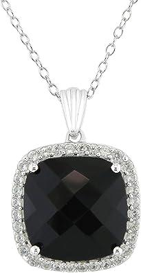 Black Onyx and Black Sapphire Handmade Silver Pendant