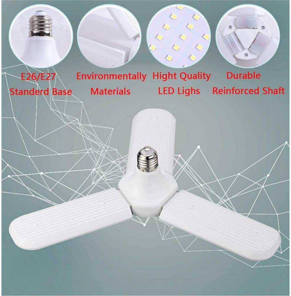 Full Area 1 Pack Workbench Adjustable Screw in LED Fan Light for Garage Workshop 45W E26 // E27 Daylight LED Light Bulbs Warehouse 4500LM Deformable Basement Lights LED Garage Lights Barn