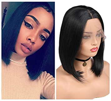 Amazon.com   Quantum Love Lace Front Wigs Middle Part Short Bob Wig Heat  Resistant Glueless Straight Synthetic Wigs For Women 14Inch Natural Black  Color   ... 55634c0b2