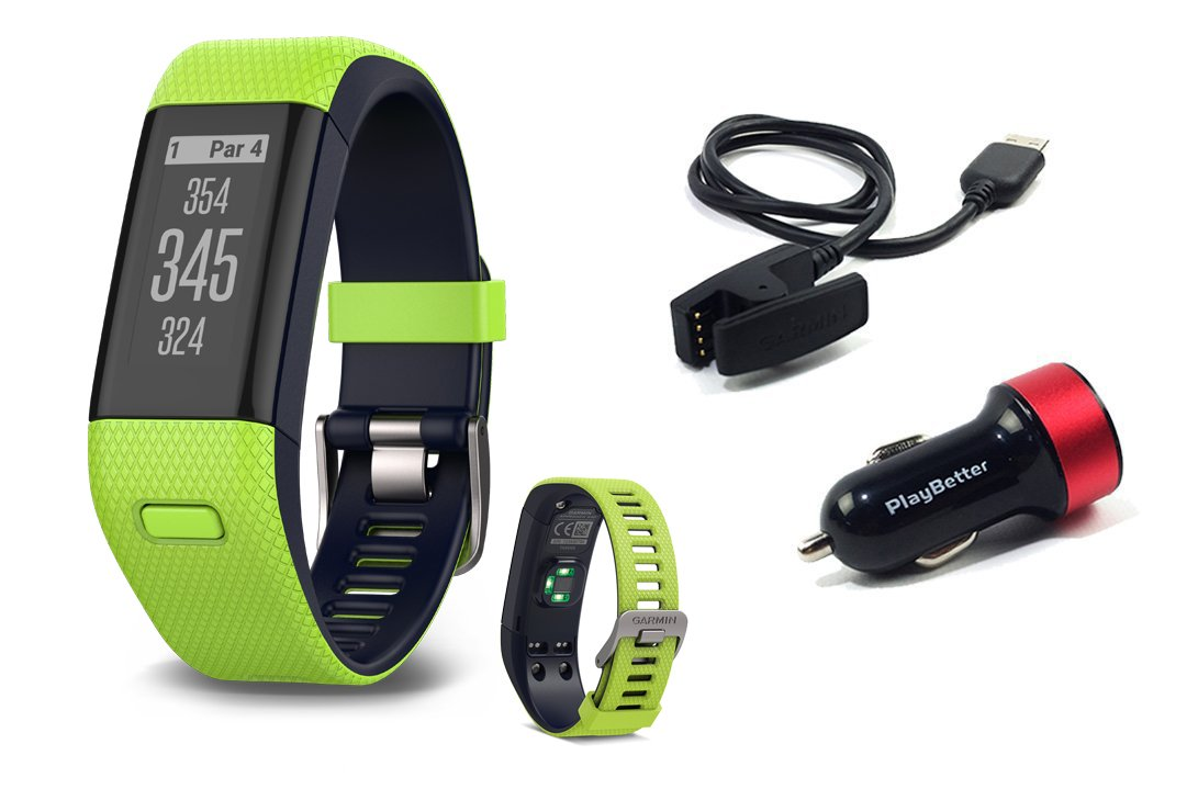 Garmin Approach X40 (Lime) Golf GPS & Fitness Band BUNDLE with PlayBetter USB Car Charge Adapter