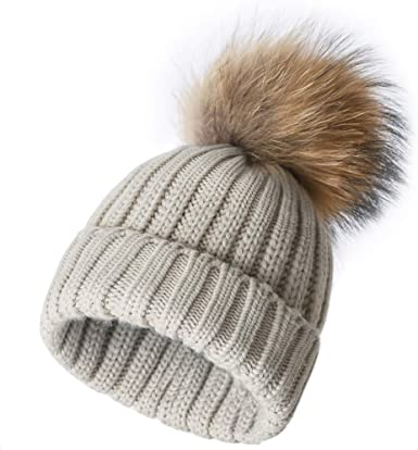 Womens Beanie Soft Stretch Cable Knit Big Fur Pom Winter Beanie Hat