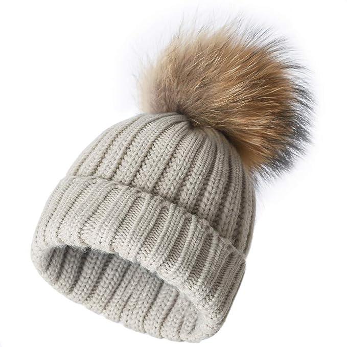 6d0d3430c4afe Roniky Winter Knit Hat Real Fox/Raccoon Fur Pom Pom Womens Girls Knit Beanie  Hat
