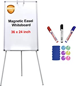 Easel Whiteboard, Magnetic White Board 36 x 24 Inches Flipchart Easel Dry Erase Board, Height Adjustable Tripod Whiteboard with 1 Eraser, 3 Markers, 6 Magnets, Silver