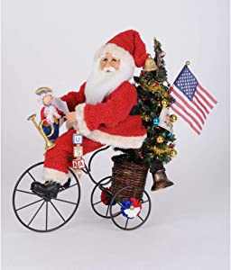 Karen Didion Originals Lighted Patriotic Trike Santa Figurine, 18 Inches - Handmade Christmas Holiday Home Decorations and Collectibles
