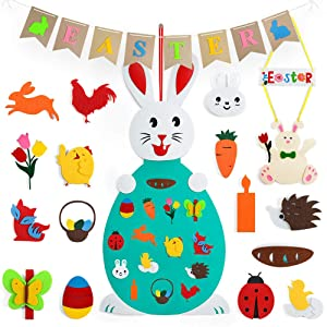 Easter Decor with Banner, Hanging Felt Rabbit Craft Sign and DIY Bunny Ornament, Easter Egg Decorations kit for Window Door Mantle Fireplace, Spring Themed Party Favors Supplies