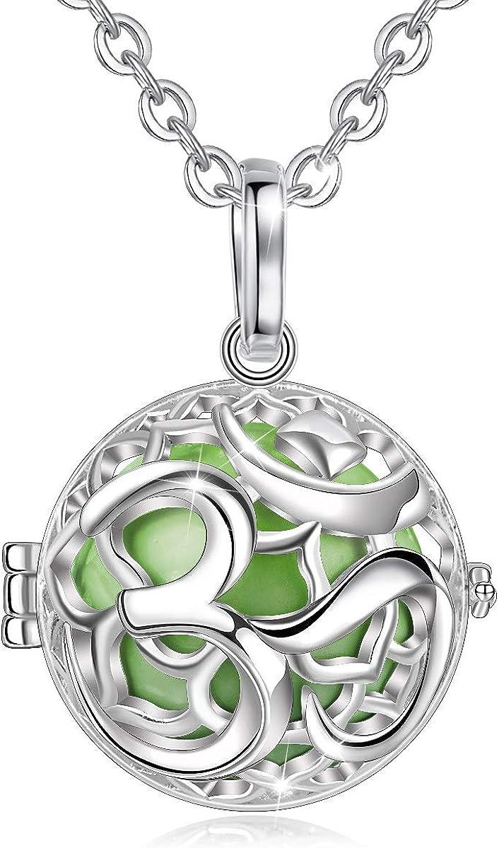 EUDORA Harmony Ball Yoga OM Símbolo Colgante Llamador de Angeles Collar de Bola de Sonido, Bisutería Mujer Regalos Originales para Mujer (20mm, 76,2cm + 114,3cms)