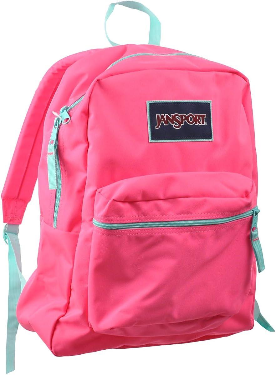 Jansport Unisex OVEREXPOSED Zipper Backpacks Fluorescent Pink Mint to be Green