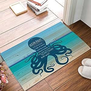 Alfombra de baño de 76,2 x 45,7 cm, impermeable, ideal para decoración del hogar, alfombra grande, alfombra de entrada para interiores y exteriores, alfombra para el suelo, reglas del océano, pulpo de playa, tabla de madera, imagen azul de Olivefox