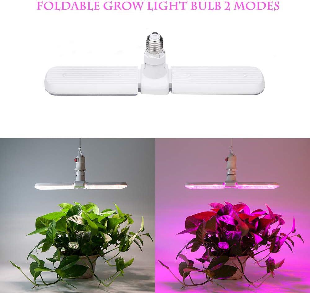 LED Grow Light Bulb, E27 75W Foldable Plant Growing Lamp, Sunlike Red Blue 2 Modes Full Spectrum for Indoor Plants Veg and Flower AC90-265V