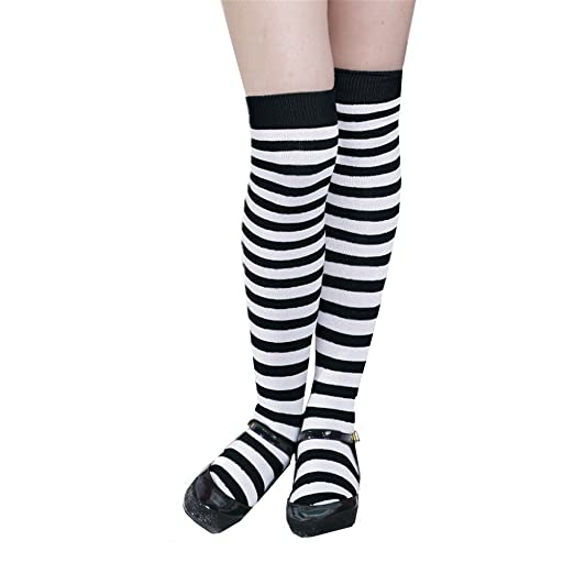 1c4dc34082c DreamHigh 22 quot  Women Girl Opaque Striped Long Warm Stockings Knee High  Socks-BK