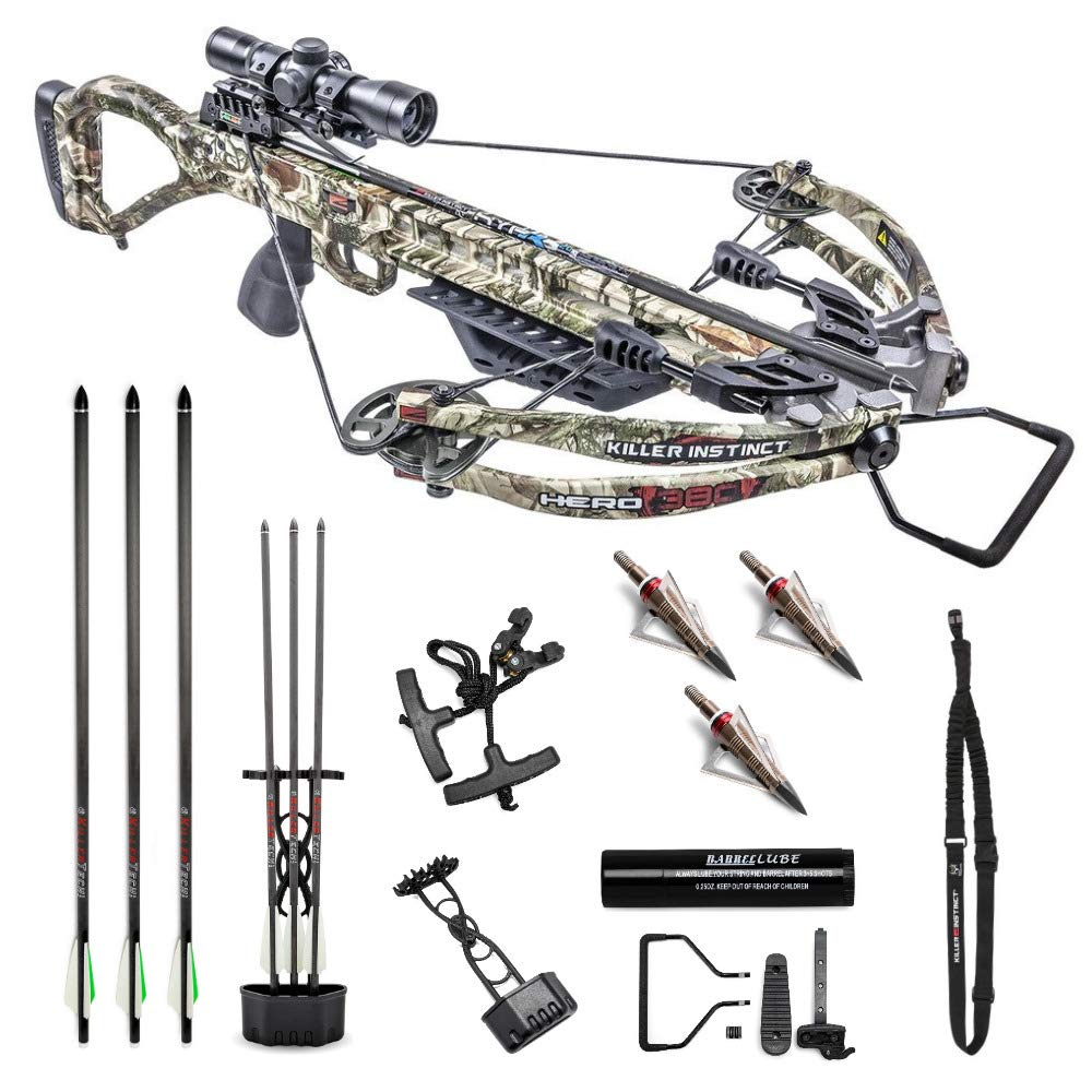 Killer Instinct Crossbows Ripper Hero 380 Crossbow Hunter's Kit with Sling, NAP Broadheads, 3 Arrows, Quiver, Rope Cocker, Rail Lube, and IR Scope Bundle