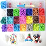 Loomy Bands 7000-Piece Rainbow Colored Loom Band, 22 Colors with Kids Fidget Spinner, 50 Beads, 15 Charms, 250 Clips, Loom Board, Pick Hook and Plastic Storage Container