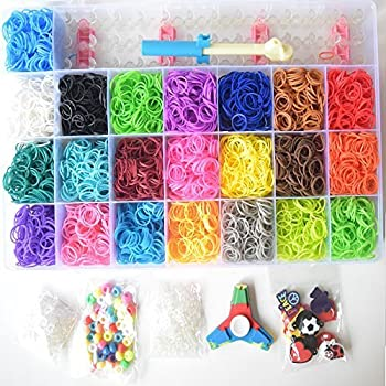 Loomy Bands 7000-Piece Rainbow Colored Loom Band, 22 Colors with Kids Fidget Spinner