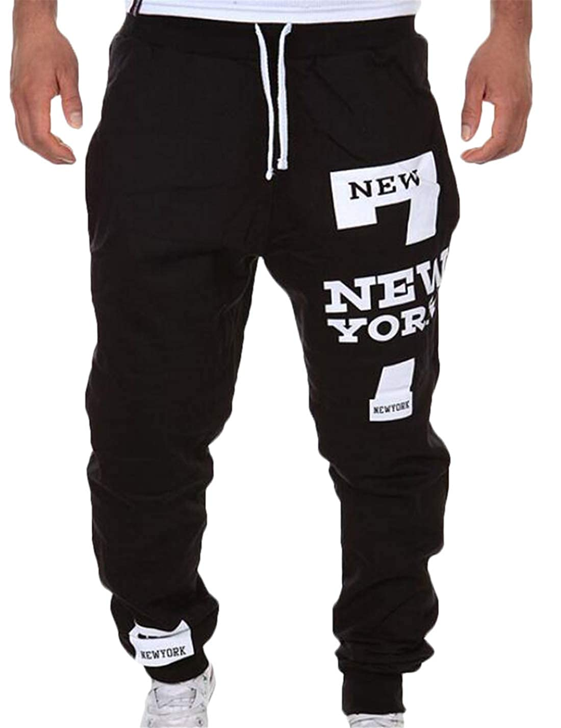Rrive Mens Drawstring Letters Print Sweatpants Trousers Running Workout Jogger Pants