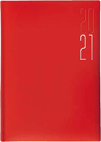 Idena Buchkalender 2021 A5 Balacron bordeaux Hardcover Terminplaner Timer Agenda
