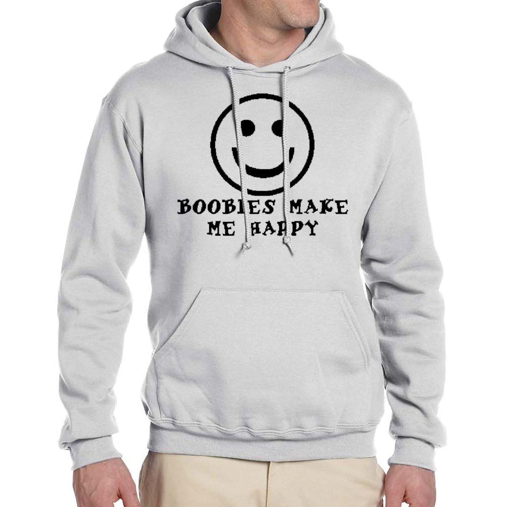 Adults BOOBIES MAKE ME HAPPY White Hoodie