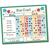 "Reward Chart ● Responsibility Chart ● Chore Chart ● Behavior Chart ● Star Chart ● Dry Erase ● Vinyl Sticker ● Multiple Children ● 2 Child Classroom & Home Teaching Resource ● 16"" x 13"" inch (Green)"