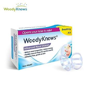 WoodyKnows (Paquete de 4) Dilatadores Nasales Antirronquidos Dilatadores Nasales Esparcidores Nasales Dispositivo Antirronquidos Alivio de la Congestión ...