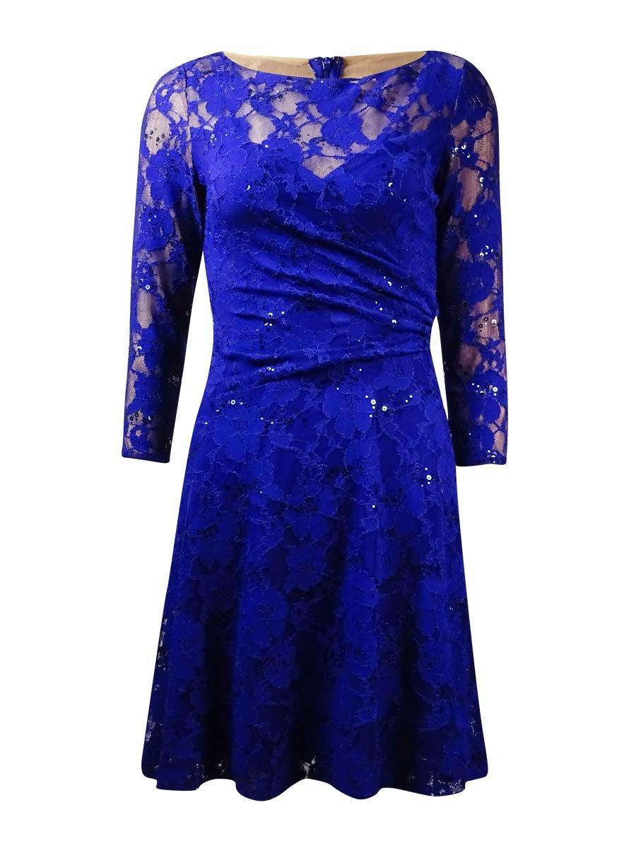 RALPH LAUREN Lauren Women's Ruched Sequined Lace A-Line Dress (2P, Navy)
