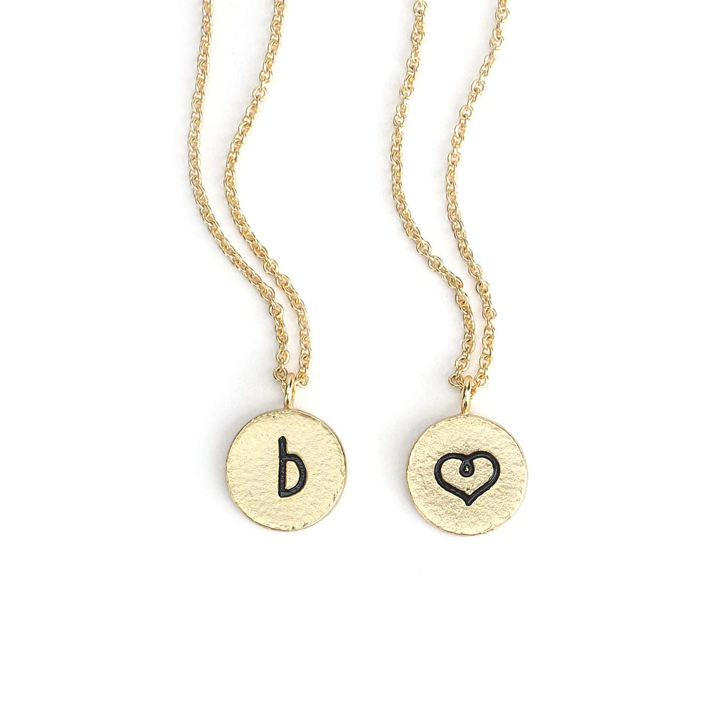 ec4157df5 KISSPAT Initial B Necklace Gold Plated Round Disc Letter Pendant Necklaces  for Women Girls& Teens