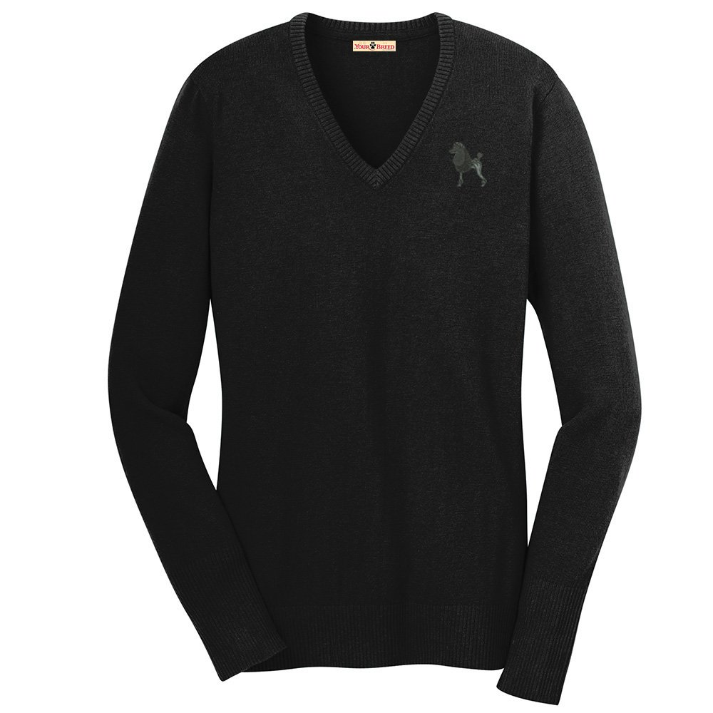 YourBreed Clothing Company Poodle Dress Cut Embroidered Ladies V-Neck Sweater