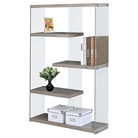 Monarch Specialties I 3052 Dark Taupe with Tempered Glass Bookcase, 60