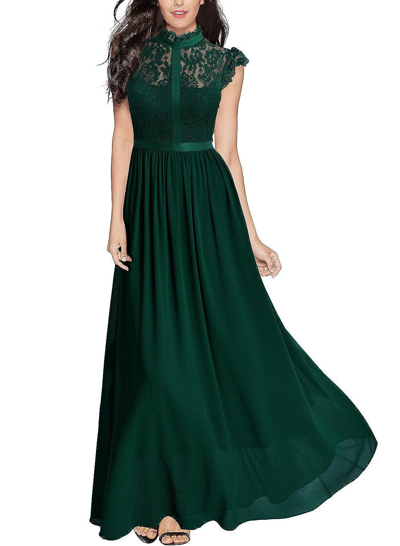 Miusol Damen Elegant Spitzen Abendkleid Brautjungfer Cocktailkleid Chiffon Faltenrock Langes Kleid Dunkelblau Gr.S-XXL