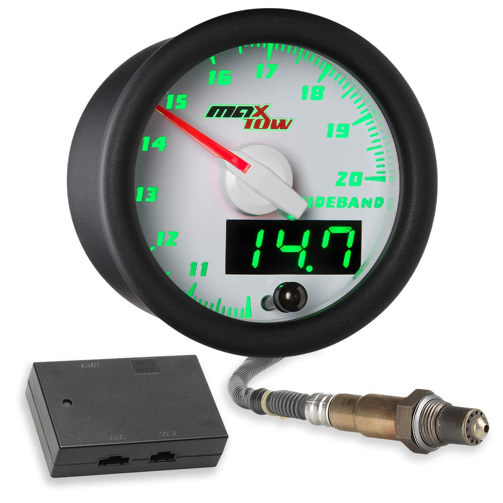 MaxTow Double Vision Wideband Air/Fuel Ratio AFR Gauge Kit - Includes Oxygen Sensor, Data Logging Output & Weld-in Bung - White Gauge Face - Green LED Dial - Analog & Digital Readouts - 2-1/16'' 52mm