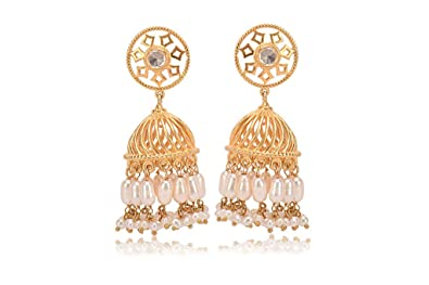 c2e667d4e Buy Missori unique light weight Gold Plated Temple Jhumka Earrings Online  at Low Prices in India | Amazon Jewellery Store - Amazon.in