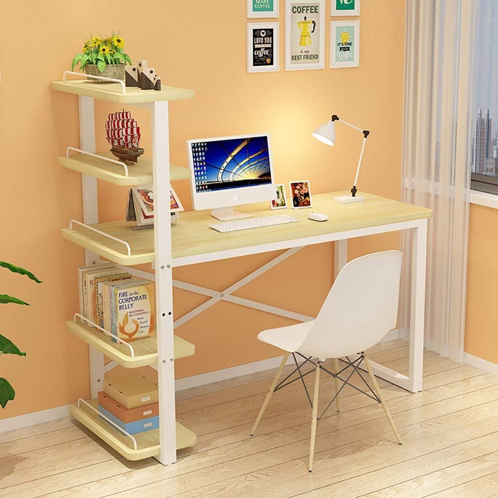 Desk Large Writing Desk Bookshelf,Multipurpose Home Office Study Computer Desk Storage Table Practical Workstation for Student-a 110cm/43.3 Inch
