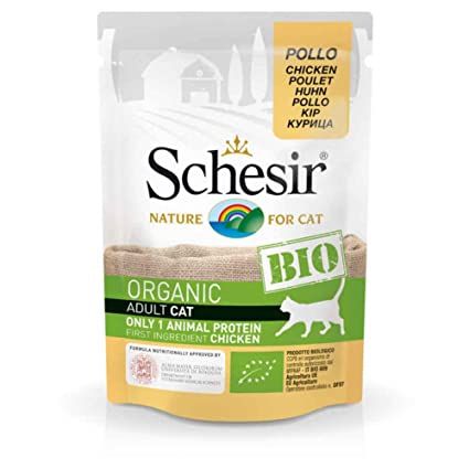 Schesir bolsita Fraîcheur Bio AU pollo para gato – 85 g