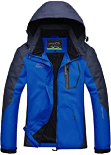 AbelWay Mens Outdoor Mountain Waterproof Windbreaker Softshell Hooded Jacket