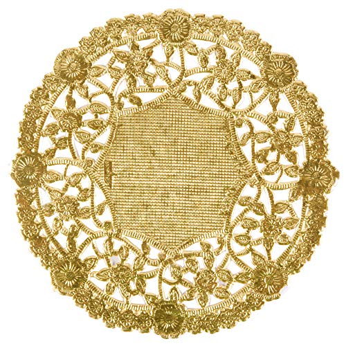 Gold Foil 4 inch Round Paper Lace Table Doilies - Great for Serving Small Treats or Rolling Around Silverware (pack of 50)