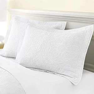 "ADASMILE A & S Standard Pillow Shams Quilted Pillow Cases 100% Cotton Soft and Cozy Decorative Pillow Covers 20""X26"" Set of 2 (White)"