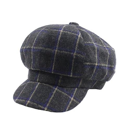 Sombrero Octogonal Otoño E Invierno Señora Casual Celosía De Colores Inglaterra Gorro De Lana Abrigo...