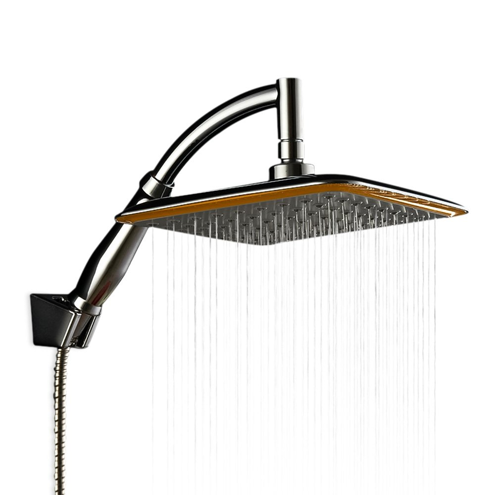 Zhi Jin 1Pc Square 8.5Inch Rain Shower Head Swivel Replacement Parts Rainfall Waterfall Bathroom Showerhead