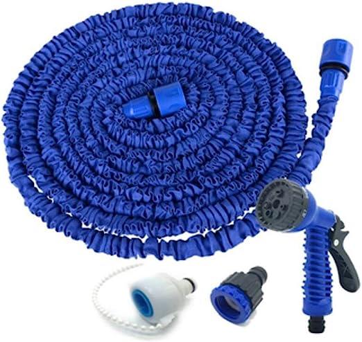 DPPAN Manguera Mágica Extensible, 1/2inch, 3/4inch Conexiones Sólidas Manguera de Jardín Flexible para Lavado de Coches Riego de Jardín,Blue_100FT/30M: Amazon.es: Jardín