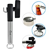 Can Opener Beer Bottle Opener 4 in 1 Multifunctional Stainless Steel Anti Slip Smooth Edge Side with Soft Grips Handle Cans Lid Lifter Kitchen Collection - Black
