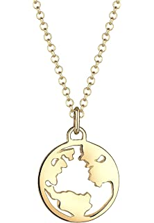 Elli Women's 925 Silver Gold Plated Sun Astro Geo Round Circle Necklace