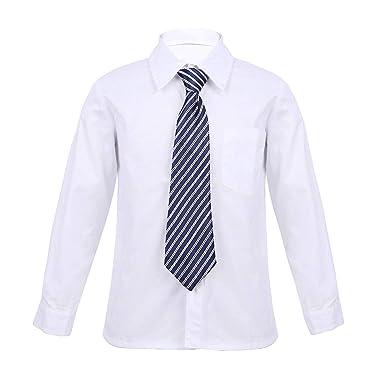 iiniim Camisa Blanco Manga Larga Niños Chicos Uniforme ...