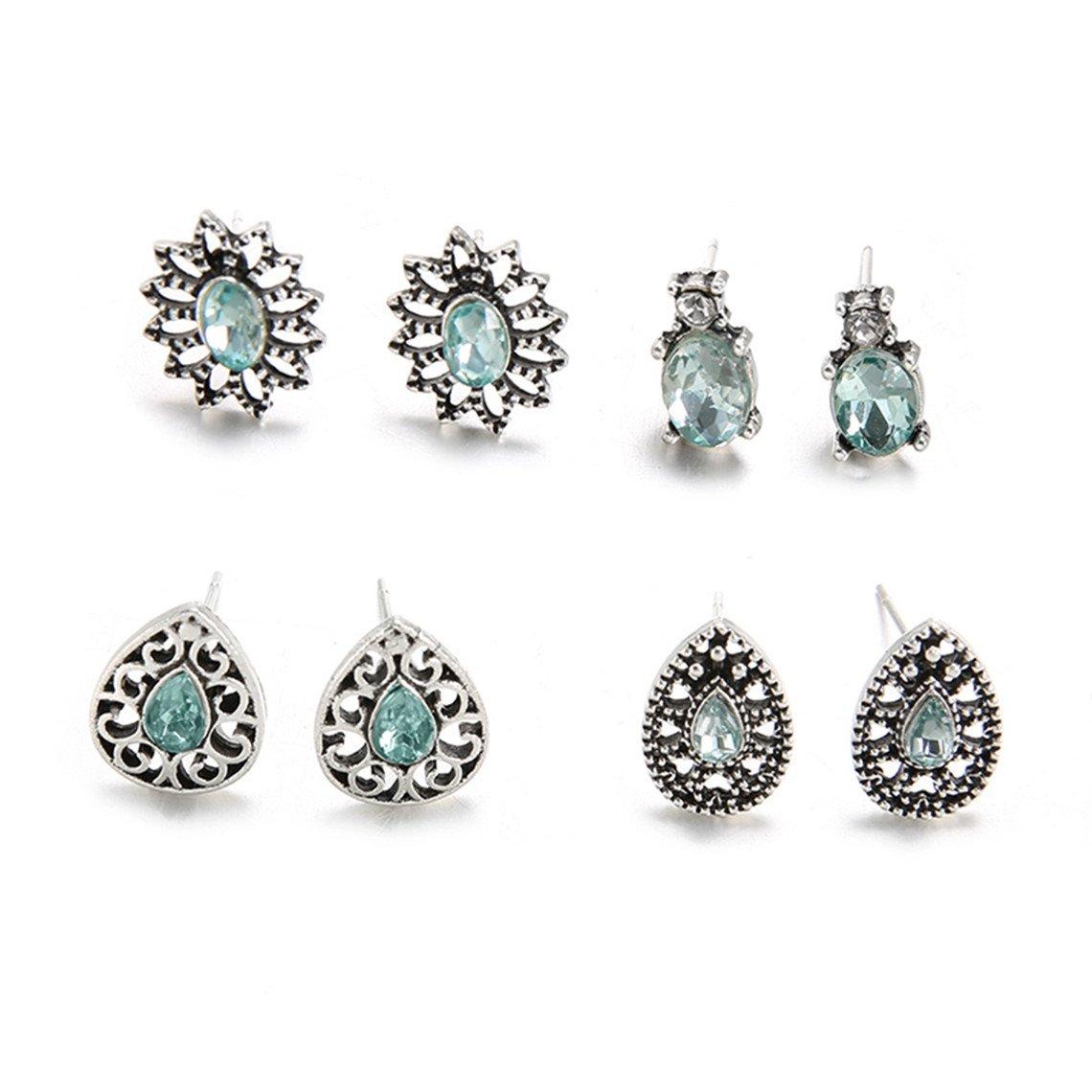 Rurah Women's Exquisite Fashion Jewelry Flower Earring Water Drops Shape Stud Crystal Diamond Earring for Girl