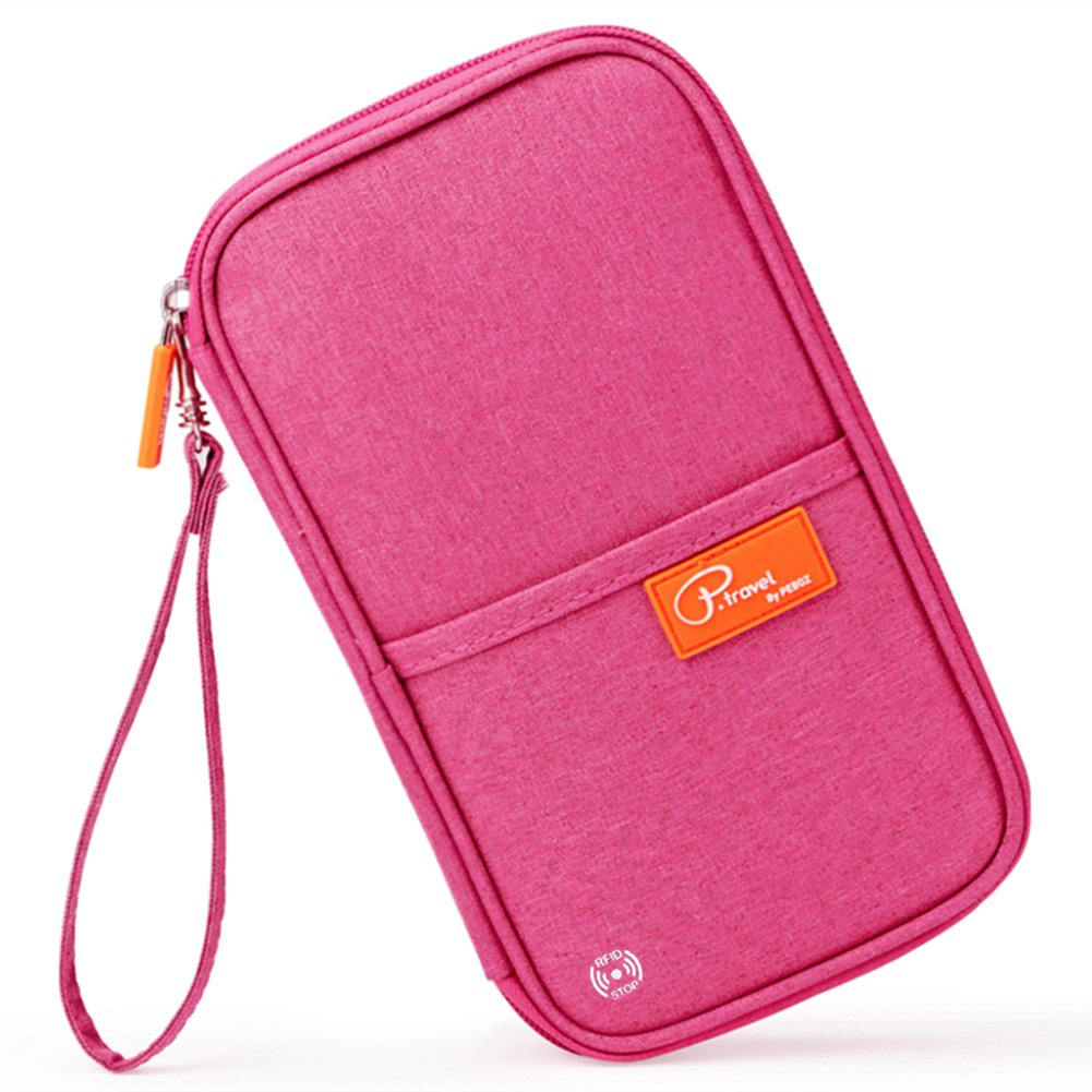Mossio [Upgraded] RFID Travel Wallet Passport Holder Journey Case Document Organizer Ticket Holder Pink GuiLing Luo TWG02RD