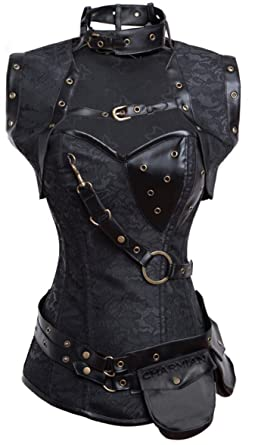 ca4f260a405 Charmian Women s Retro Goth Spiral Steel Boned Brocade Steampunk Bustiers  Corset with Jacket and Belt Black