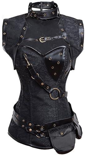 Steampunk Corsets & Belts | Underbust, Overbust Charmian Womens Steampunk Spiral Steel Boned Vintage Retro Corset Tops Bustier $52.99 AT vintagedancer.com